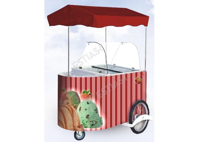 Τροχήλατη βιτρίνα χύμα παγωτού