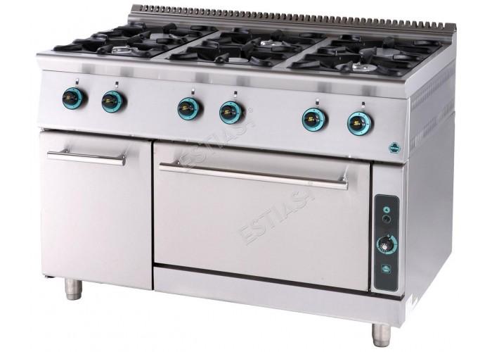 Επαγγελματική κουζίνα αερίου 6 εστιών με φούρνο FC6FS9 SERGAS