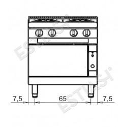 Επαγγελματική κουζίνα αερίου με 4 εστίες και ηλεκτρικό φούρνο Baron Q70PCF/GE8008