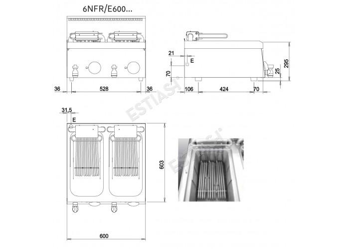 Επαγγελματική φριτέζα ηλεκτρική διπλή Baron 6NFR/E600R