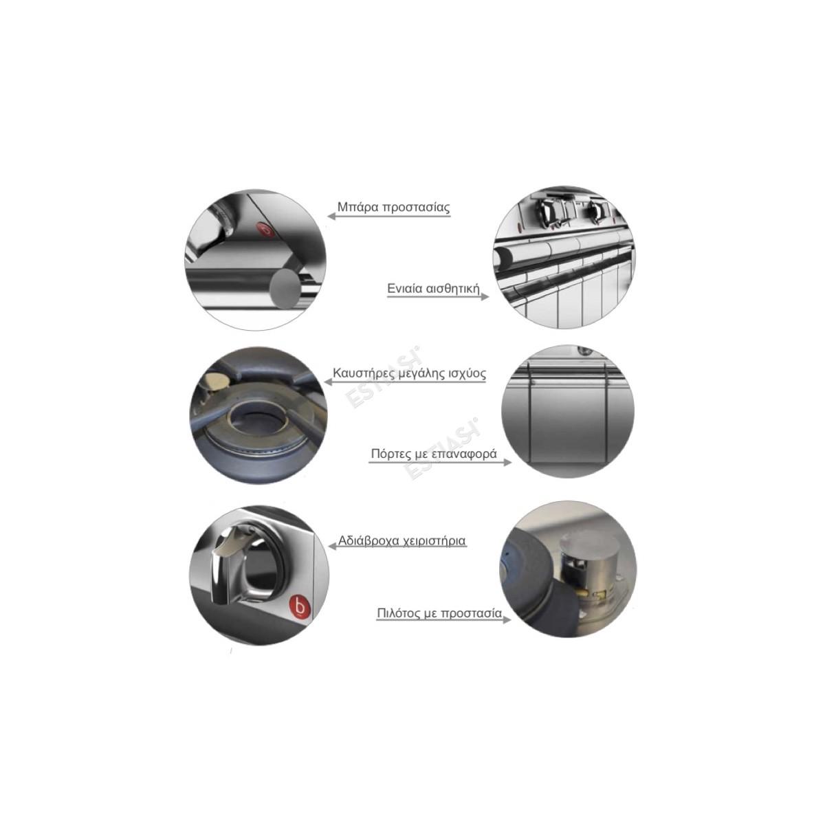 Επαγγελματική κουζίνα αερίου με 8 εστίες και 2 φούρνους αερίου Baron Q70PCF/G1606