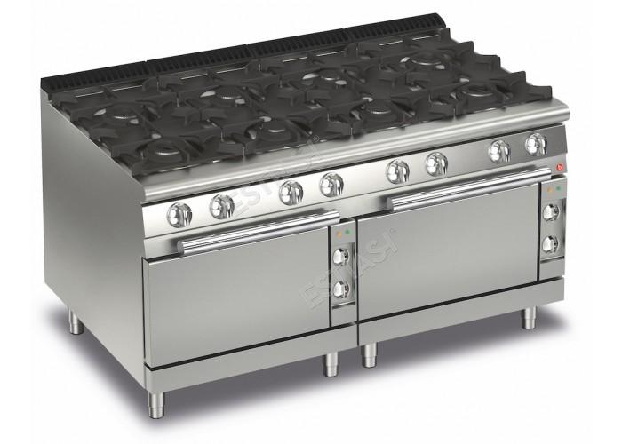 Επαγγελματική κουζίνα αερίου με 8 εστίες και 2 ηλεκτρικούς φούρνους Baron Q70PCF/GE1606